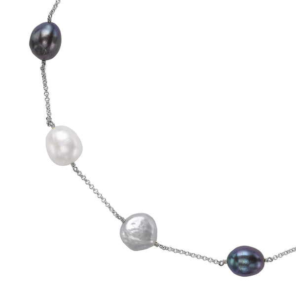 Sterling Silver Mixed Baroque Pearl Chain Necklace