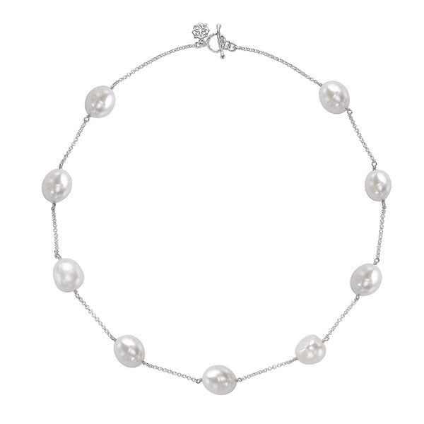 Sterling Silver White Baroque Pearl Chain Necklace