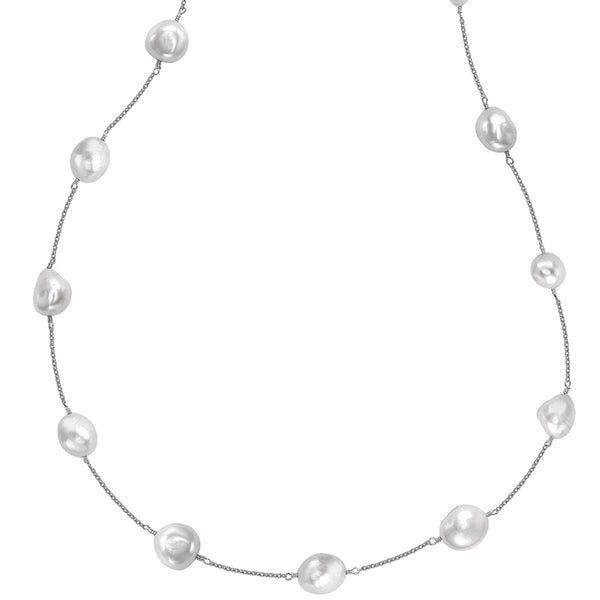 Sterling Silver White Baroque Pearl Long Chain Necklace