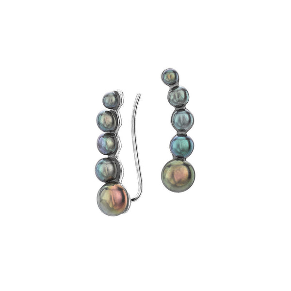 Sterling Silver Peacock Freshwater Pearl Ear Climbers