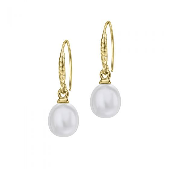 18ct Gold Vermeil 8mm Oval White Freshwater Pearl Drop Earrings