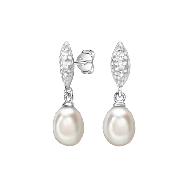 Sterling Silver Hammered Marquise & White Freshwater Pearl Drop Earrings