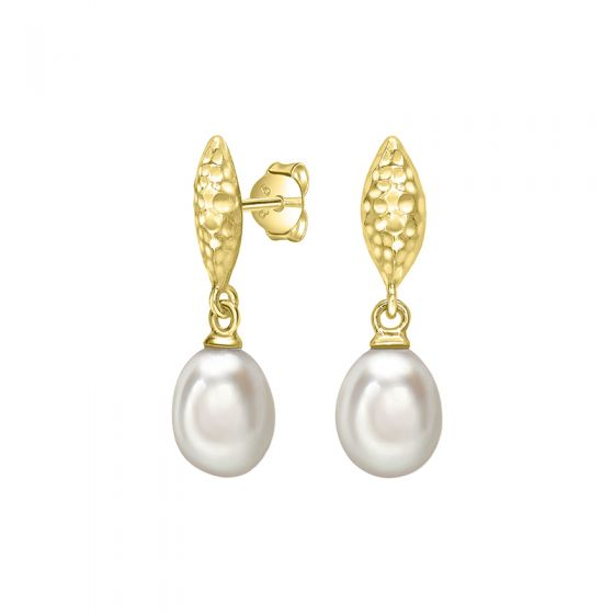18ct Gold Vermeil Hammered Marquise & White Freshwater Pearl Drop Earrings
