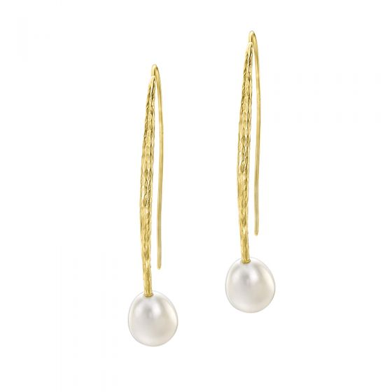 18ct Gold Vermeil 12mm Pear White Freshwater Pearl Long Drop Earrings