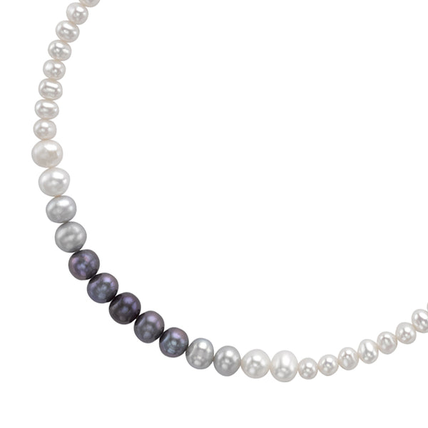 Sterling Silver Ombre Freshwater Pearl Necklace