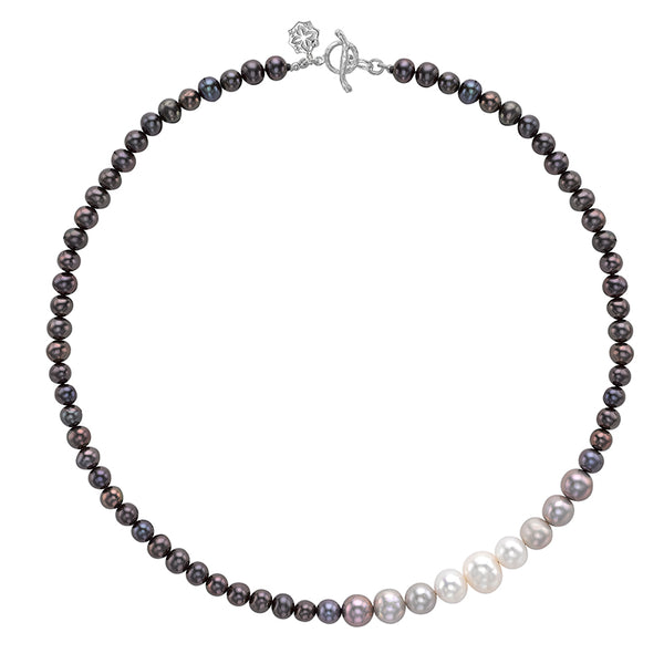 Sterling Silver Dark Ombre Freshwater Pearl Necklace