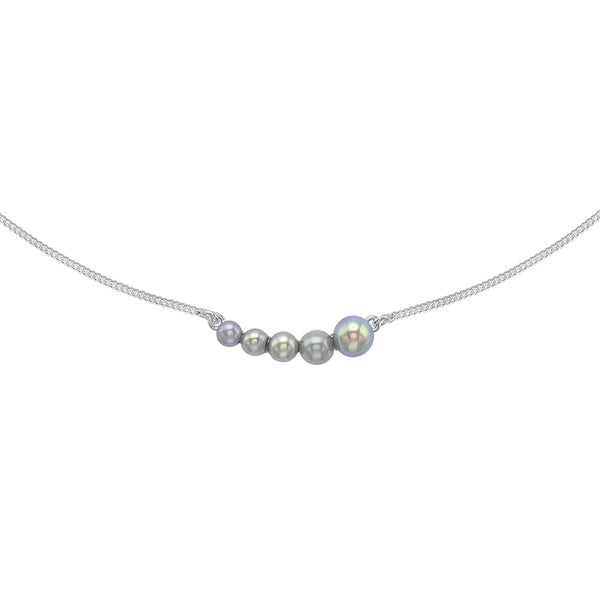 Sterling Silver Graduated 5 Dove Grey Freshwater Pearl Bar Pendant