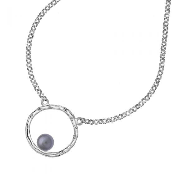 Sterling Silver Small Open Circle & Dove Grey Edison Pearl Necklace