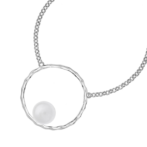 Sterling Silver Large Open Circle & White Edison Pearl Necklace
