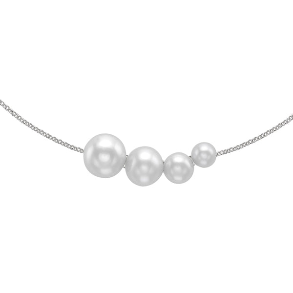 Sterling Silver Graduated 4 White Freshwater Pearl Pendant