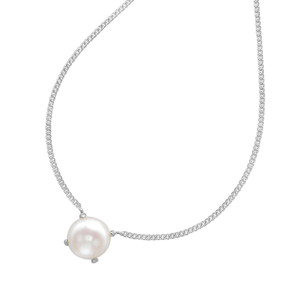 Sterling Silver 8mm White Freshwater Pearl Claw-Set Pendant