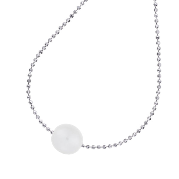 Sterling Silver 14mm Single White Pearl Pendant