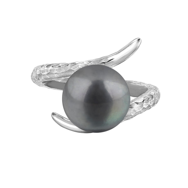 Sterling Silver Twisted Peacock Freshwater Pearl Ring