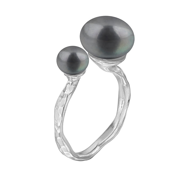 Sterling Silver Double Peacock Freshwater Pearl Ring
