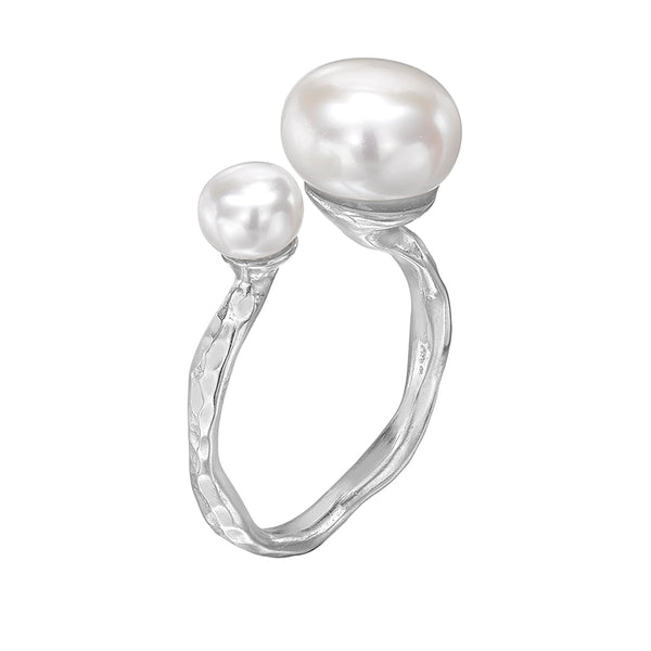 Sterling Silver Double White Freshwater Pearl Ring