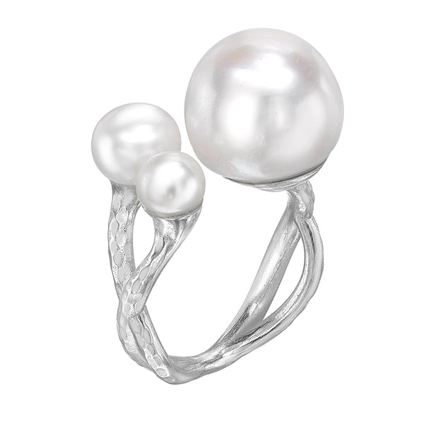 Sterling Silver Statement Triple Freshwater Pearl Ring