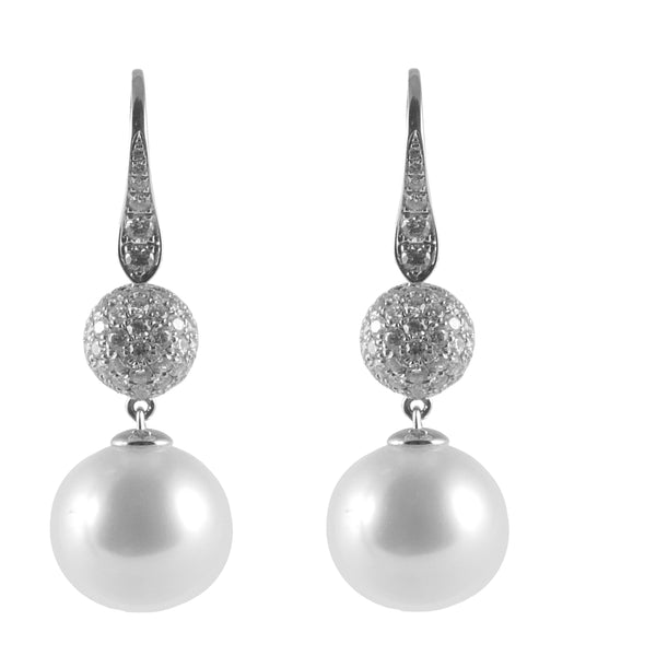 18ct White Gold South Sea Pearl & Diamond Drop Earrings, 1.11cts