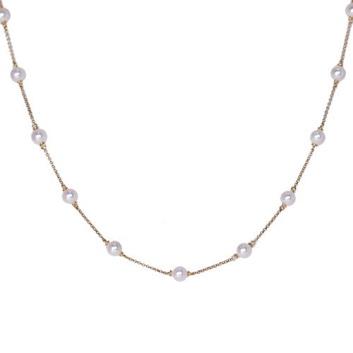 18ct Yellow Gold Spaced Pearl Necklace