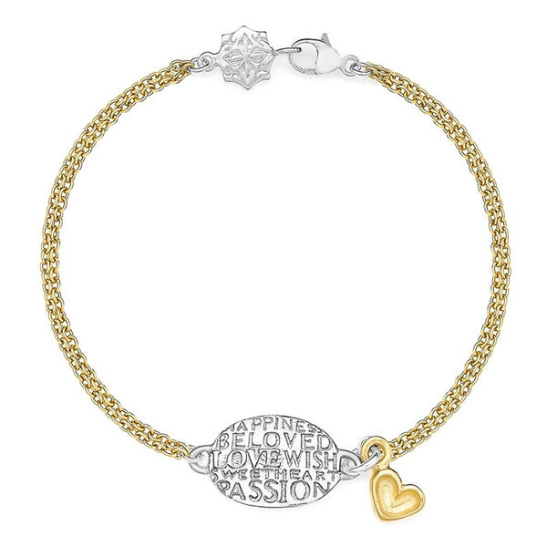 Sterling Silver & 18ct Gold Vermeil Oval & Heart Bracelet