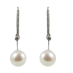 18ct Freshwater Pearl & Diamond Drop Earrings, 0.18ct