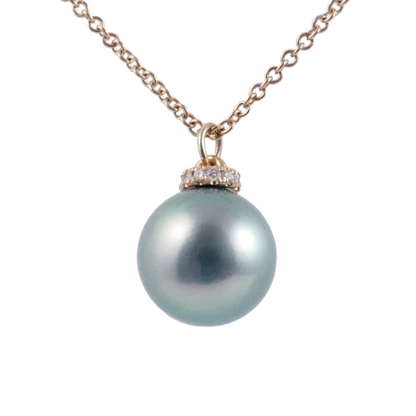 18ct Rose Gold Tahitian Pearl & Diamond Pendant, 0.06ct
