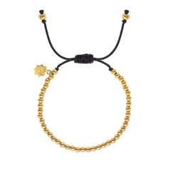 18ct Yellow Gold Vermeil Black Misanga Bracelet