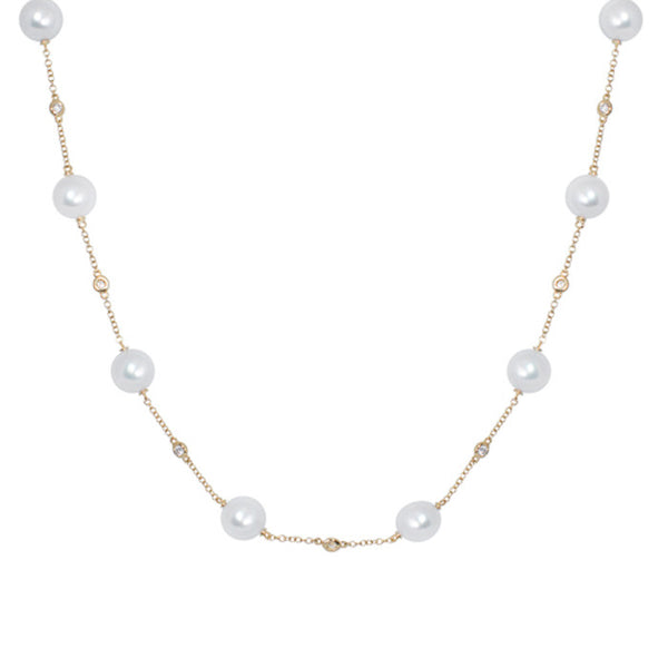 18ct Yellow Gold Necklace with Diamonds & White Akoya Pearls, 0.42ct