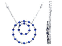 18ct White Gold Sapphire & Diamond Necklace, 0.26ct