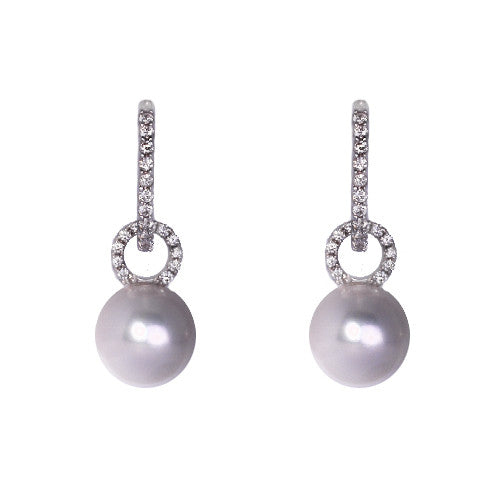 18ct White Gold, Diamond & Akoya Pearl Drop Earrings