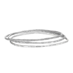 2mm Sterling Silver Hammered Nomad Bangle Set