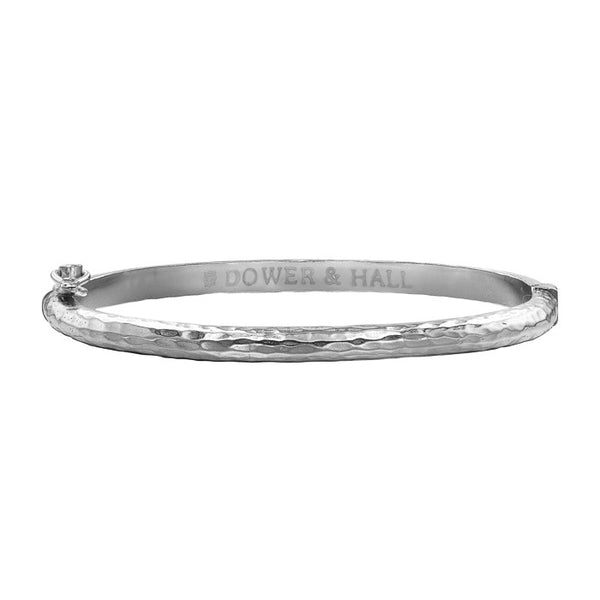 Sterling Silver 4.5mm Hinged Hammered Nomad Bangle