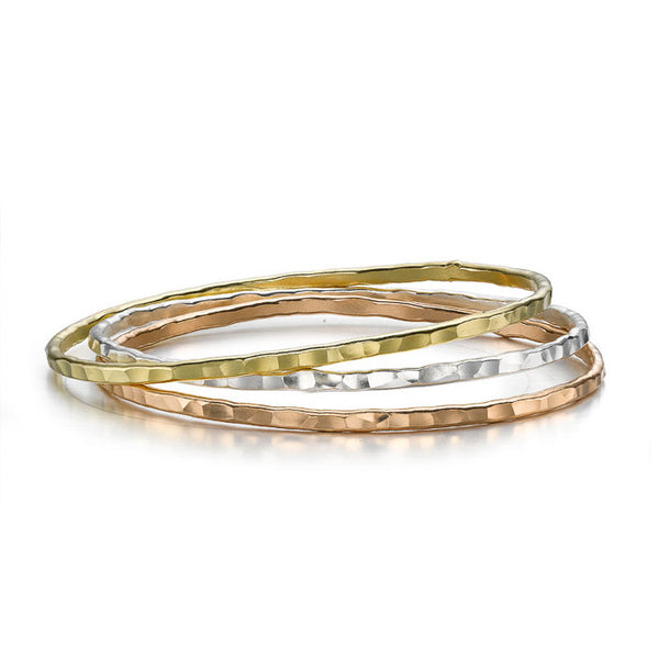 3mm Sterling Silver Mixed Bangle Set