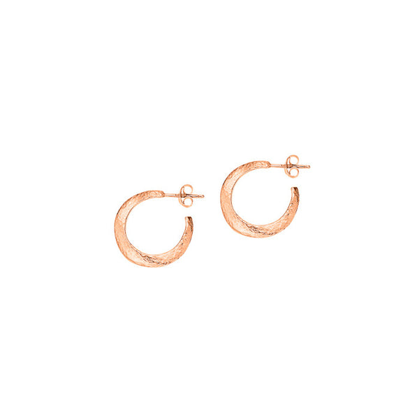 18ct Rose Vermeil Small Beaten Wave Nomad Hoops