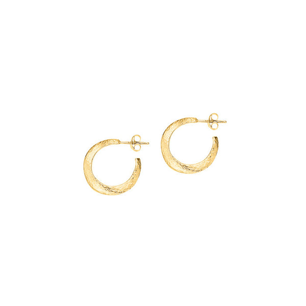 18ct Gold Vermeil Small Beaten Wave Nomad Hoops
