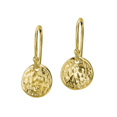 18ct Gold Vermeil 10mm Disc Nomad Drop Earrings