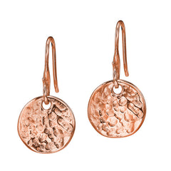 18ct Rose Gold Vermeil 13mm Disc Drop Earrings