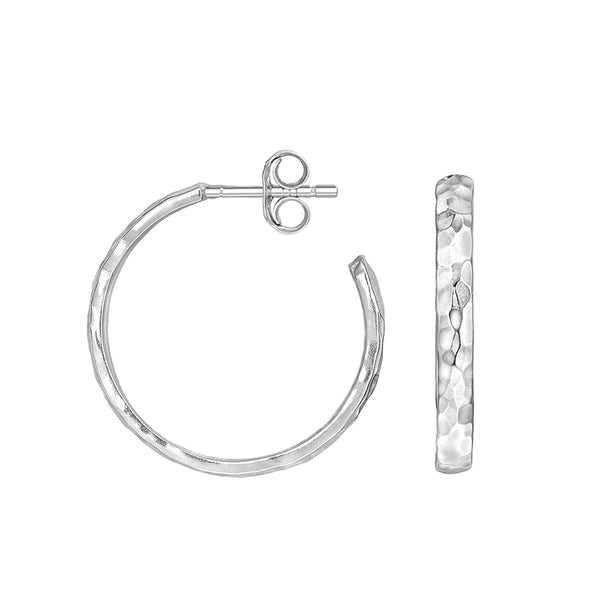 Sterling Silver 20mm Hammered Hoop Nomad Earrings