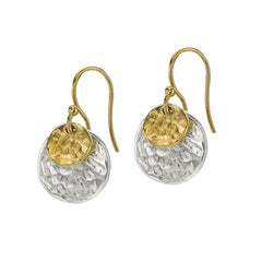 Sterling Silver & Gold Vermeil Double Hammered Disc Nomad Earrings