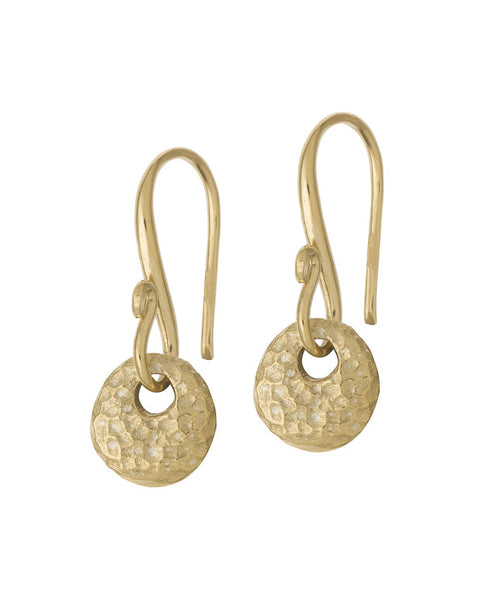 18ct Gold Vermeil Round Disc Nomad Drop Earrings
