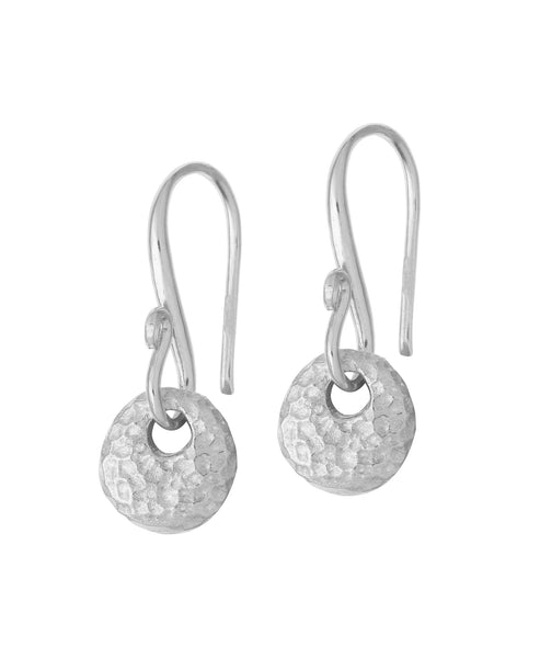 Sterling Silver Round Disc Drop Nomad Earrings