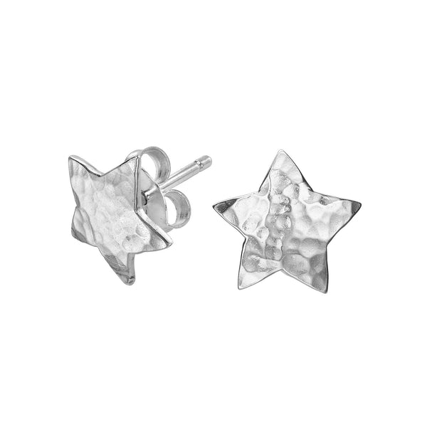 Sterling Silver Hammered Flat Star Nomad Stud Earrings