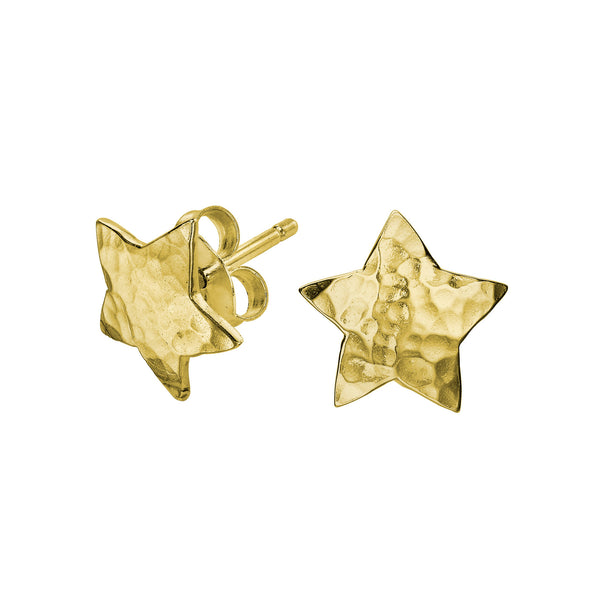 18ct Gold Vermeil Hammered Flat Star Nomad Stud Earrings