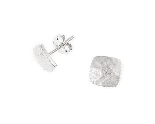 Sterling Silver Small Flat Square Nomad Stud Earrings