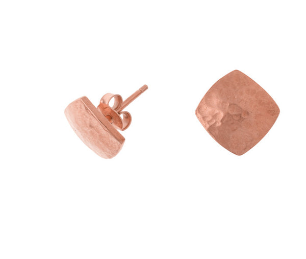 18ct Rose Gold Vermeil Small Flat Square Nomad Stud Earrings