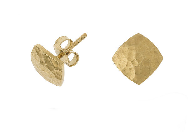 18ct Gold Vermeil Small Flat Square Nomad Stud Earrings