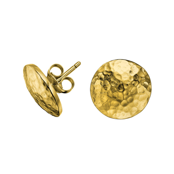 18ct Gold Vermeil Round Domed Disc Nomad Stud Earrings