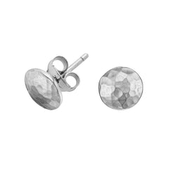 Sterling Silver Small Round Domed Disc Nomad Stud Earrings