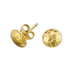 18ct Gold Vermeil Small Round Domed Disc Nomad Stud Earrings