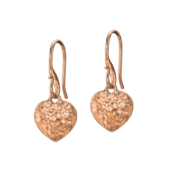 18ct Rose Gold Vermeil Flat Heart Drop Earrings