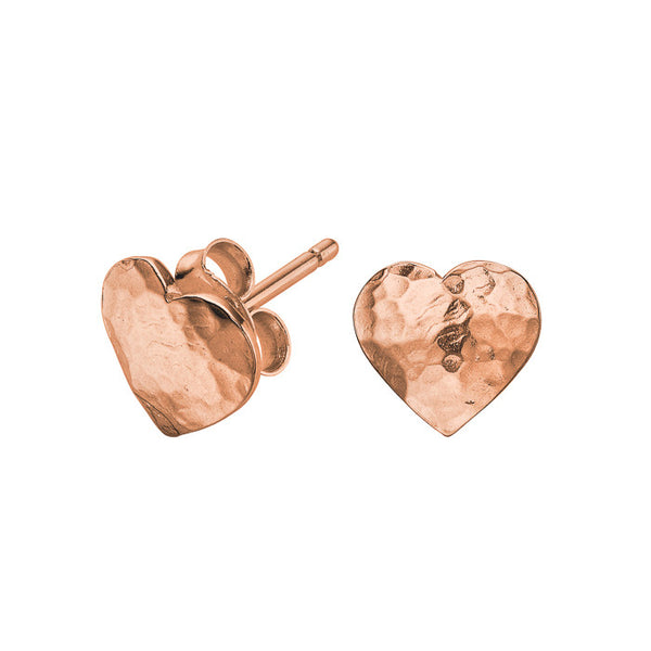 18ct Rose Gold Vermeil Hammered Flat Heart Nomad Stud Earrings